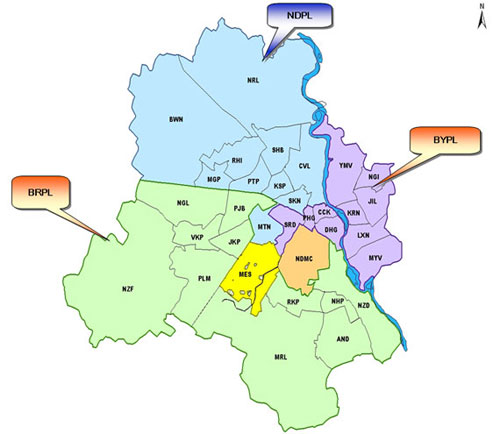 Map of the three main DISCOMs of Delhi. The central area having 3% of the population are served by NDMC and MES (Cantonment)