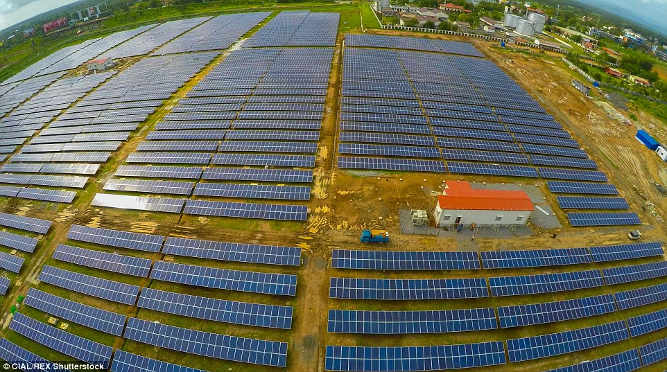 aerial view of 12 MW solar farm at Cochin International Airport
